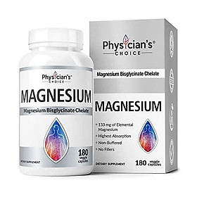 Magnesium Glycinate - Patented Bisglycinate Non Buffered Chelated Magnesium Supplement for Sleep, Migraines, Muscle Cramps, Anxiety, Bone Density, Gluten Free, Non-GMO, 180 Capsules