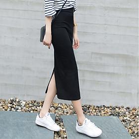 Chân váy len dáng dài Quảng Châu xẻ sau co giãn nhiều màu CV14