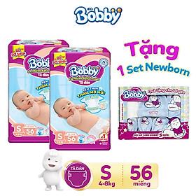 [Tặng 1 set newborn: mũ, yếm và bao tay sơ sinh] Combo 2 Tã dán siêu mỏng Bobby S56