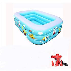Bể bơi phao 3 tầng cho bé (130cm x 85cm x 55cm) + Tặng kèm bơm điện 2 chiều