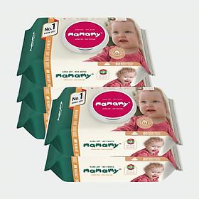 Combo 5 gói khăn ướt Mamamy 80 tờ nắp, không mùi 100% an toàn, không kích ứng.