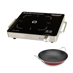 Bếp hồng ngoại 2000W kèm chảo chống dính, không kén nồi chảo,nút vặn nhiệt độ dễ sử dụng-Hàng chính hãng