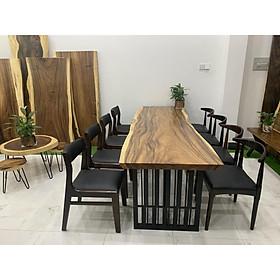 Bộ bàn ăn gỗ me tây 8 ghế 2m4 80cm 5cm