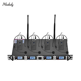 Muslady D4-2 Professional 4-Channel UHF Wireless Microphone System Includes 4 Headset Microphones with Bodypack