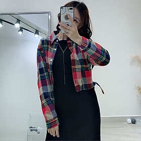 Women Fashion Plaid Cotton Shirt Spring Autumn Female Fashion Short Blouses Long Sleeve Shirts Casual Coat