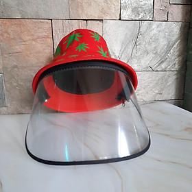Mũ chống dịch và khói bụi kèm kính nhựa Cho Người Lớn Màu Đỏ - Mẫu ngẫu nhiên