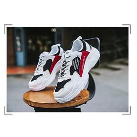 Giày Nam Thể Thao Sneaker Trắng Vải Dệt Đế Cao Su Nguyên Khối Siêu Êm Chân Phối Đen Đỏ Cực Chất Phong Cách Hàn Quốc (Hình thật) CTS-GN052-19