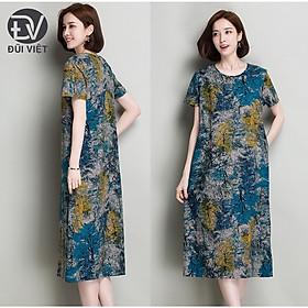 Đầm trung niên nữ vải linen dáng dài cổ tròn Đũi Việt DV45