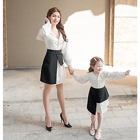 Set Đầm Sơ Mi Phối Tà + Chân Váy Mẹ và Bé