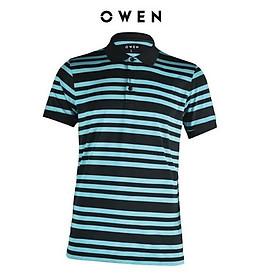 OWEN - Áo polo nam Owen màu xanh sọc ngang 22372- Áo thun ngắn tay có cổ nam