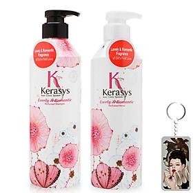 Cặp dầu gội/xả nước hoa Kerasys Lovely & Romantic hương hoa nhài, cúc Hàn Quốc 600ml + Móc khoá