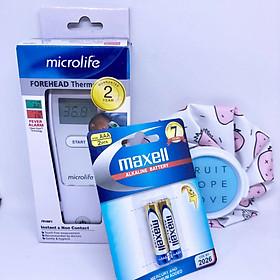 Nhiệt kế đo trán Microlife FR1MF1 đo nhanh 1 giây không cần chạm tặng kèm 1 bộ pin và 1 túi chườm nóng lạnh