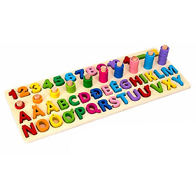 Đồ chơi trẻ em thông minh, Bảng Chữ Cái Tiếng Việt thường và Số Đếm gỗ nổi.
