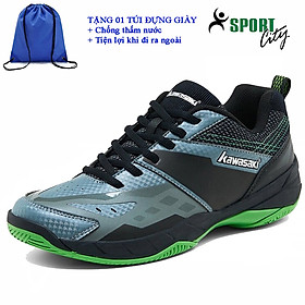 Giày cầu lông kawasaki K359 chính hãng dành cho cả nam và nữ, chuyên nghiệp chống lật cổ chân- tặng túi rút thể thao màu xanh