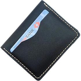 ví da nam mini -ví đựng thẻ atm, da bò cao cấp màu đen