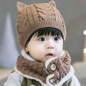 Hình ảnh Mũ Nón Và Khăn Choàng Cúc Bấm Cho Bé Chất Liệu Len Cao Cấp-Màu Nâu