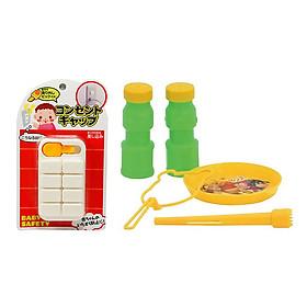 Combo Bịt ổ điện an toàn cho bé (8 cái) + Bộ thổi bong bóng xà phòng Pooh - Nội địa Nhật Bản