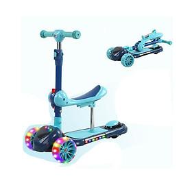 Xe scooter 3 bánh tự cân bằng, xe scooter 3 in 1 cho bé, có ghế gấp gọn, có nhạc và đèn LED bánh xe