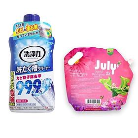 Combo nước giặt xả July 2X Sweet Pink 1.8L Thái Lan + Chai tẩy, rửa lồng máy giặt Nhật Bản