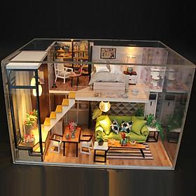 Mô hình nhà DIY Doll House Biệt thự châu Âu Kèm Đèn LED và Mica chống bụi