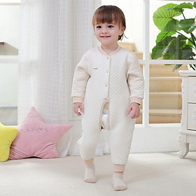 Hình đại diện sản phẩm Bell kiss baby onesies romper color cotton newborns open to the buckle clothes baby clothes baby underwear B6032 coffee bar color 66 yards