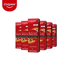 Bộ 6 kem đánh răng làm trắng sáng Colgate Optic White từ khoáng núi lửa Hàn Quốc 100g