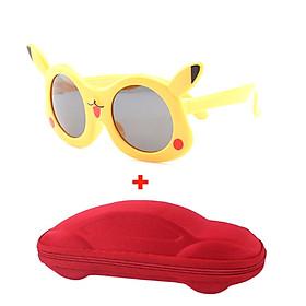 [KÈM VIDEO] Mắt kính trẻ em pikachu cao cấp chống UV chống gãy tặng kèm hộp đựng kính hình ô tô dành cho BÉ TRAI BÉ GÁI