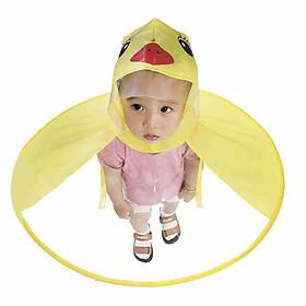Children Cute Duck Rain Coat UFO Umbrella Hat Hands Free Raincoat