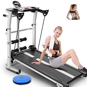 Máy tập chạy bộ đi bộ cơ không cần điện đa năng tặng kèm 04 phụ kiện - Đai chống gù lưng + giá đỡ tập cơ bụng + bàn xoay eo + dây kéo co giãn tập cơ tay
