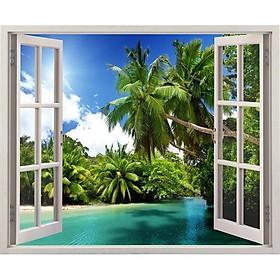 Tranh dán tường cửa sổ 3D VTC cảnh biển đẹp VT0032