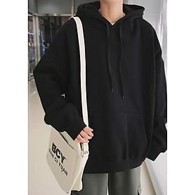 Áo Hoodie Nỉ Cotton Đen Trơn Đủ Size S M L XL Cao Cấp