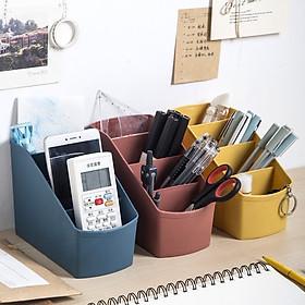 Kệ nhựa đựng bút viết, vật dụng 4 ngăn nhiều màu (cao 6, dài 16, rộng 9,5) - giao ngẫu nhiên (1 cái)