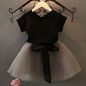 Bộ Váy Ngắn Tay + Vải Gạc Cho Bé Gái Áo Thun Trẻ Em Hàn Quốc 20120 Phong Cách Mới Mùa Hè Váy Lửng Bộ Đồ Hai Mảnh 1-6 Tuổi