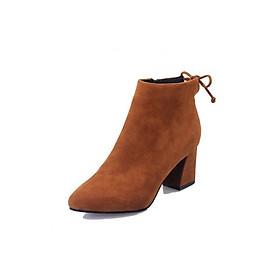 Giày Bốt Nữ Da Lộn Gót Cao 6CM Khóa Kéo Bên Hông 3Fashion - MSP 3057 - Nâu