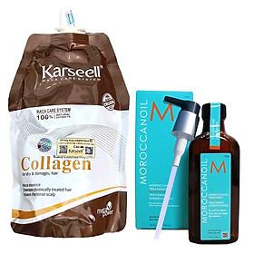 Combo túi ủ tóc Collagen Karseell 500ml tặng chai tinh dầu dưỡng tóc Moroccanoil Treatment 100ml - Chính hãng