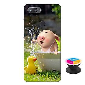 Ốp lưng nhựa dẻo dành cho Xiaomi Mi 8 Lite in hình Heo Con Nghịch Nước - Tặng Popsocket in logo iCase - Hàng Chính Hãng