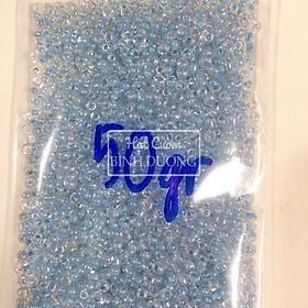 2000 Hạt cườm tấm trung trong thuỷ tinh lõi màu trang trí khoảng 50gr