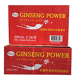 Combo 2 thùng nước tăng lực hồng sâm-Ginseng Power Premium Gold Hàn Quốc (24 lon x 250ml)