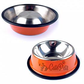 Bát ăn inox in họa tiết cho chó mèo  size 22cm - Giao màu ngẫu nhiên