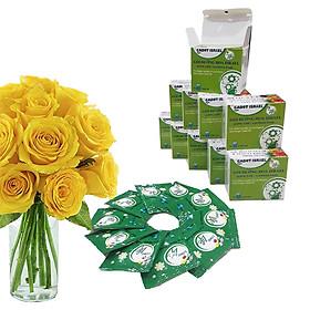 Bột Dưỡng Hoa Hồng Lâu Tàn (Set 10 hộp 1 hộp 10 gói tiết kiệm) giúp hoa luôn tươi mới, cánh hoa hồng cứng cáp gấp 2 lần và trong 14 ngày không thối nước hay cắt tỉa gốc hoa (hiệu Longlife nhập khẩu Israel)