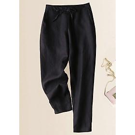 Quần baggy linen nữ ống bó phong cách Nhật Bản, chất vải linen mềm mát, thời trang trẻ