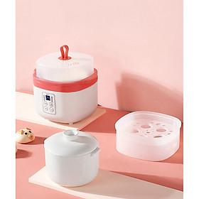 Nồi điện nấu cháo chậm đa năng bằng sứ ceramic  tự động, dành cho bé ăn dặm (hấp, nấu, chưng, hầm, hâm nóng) 0,8L- hàng chính hãng (đỏ)