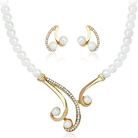 Water Drill Necklace Pearl Jewelry Fashion 18 Carat Gold Dazzling Wedding Party