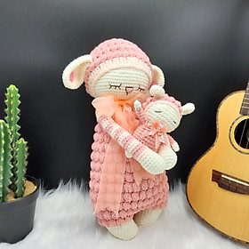 Thú nhồi bông cao cấp - Cừu La La mẹ và con  - Hồng - SP000039