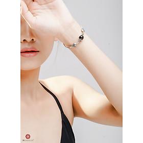 Lắc tay Thạch Anh Tóc đen 100% tự nhiên phối charm bạc thái cao cấp 92.5% đem lại may mắn, bình an, hợp mệnh Thủy, Mộc | VietGemstones