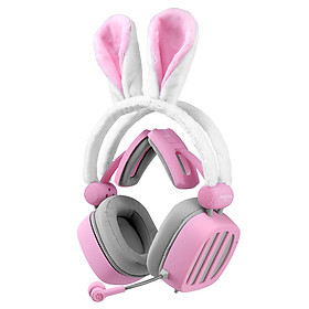 XIBERIA S21 Pink Rabbit Ears Headset 3.5mm Gaming Headset Passive Noise Cancelling Headset 7.1 Virtual Channel Live