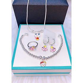 (ẢNH – VIDEO THẬT) Bộ trang sức bạc ta mèo kittys (MSP: BTS170440)