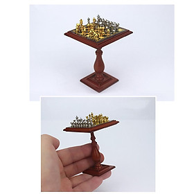1:12 Miniature  Chess Set And Table DIY Doll House Decor Accessory