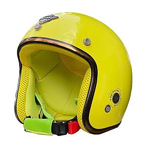 Mũ Bảo Hiểm 3/4 Đầu Napoli SH2 Cao Cấp FreeSize 55-58cm, Nón Bảo Hiểm Viền Đồng Lót Nâu Napoli