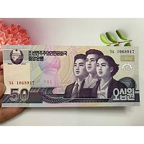 Tờ tiền 50 Won Triều Tiên biểu tượng công nhân -  tặng phơi nylon bảo quản tiền